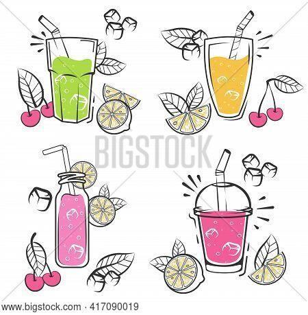 Sketch Smoothie Set. Fresh Organic Smoothie Ingredients. Superfoods And Health Or Detox Diet Food