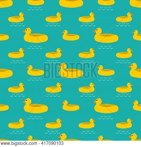 Yellow Rubber Ducks Seamless Pattern Vector Swimming Ring Pool Tropical Summer Isolated Repeat Wallp