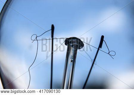 Cracked Filament In A Light Bulb Closeup