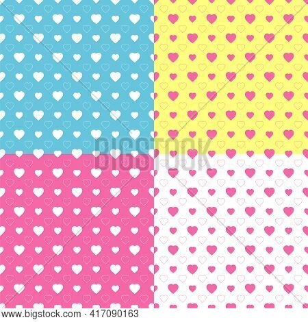 Set Of Simple Hearts Seamless Vector Pattern. Valentines Day Background. Flat Design Endless Texture