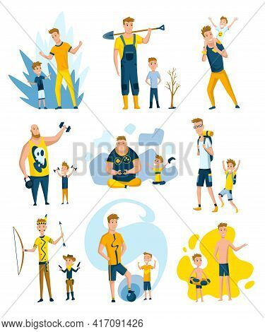 Collection Of Fathers Who Spend Time With Sons. Dads And Sons Happy Family Concept. Fatherhood Flat