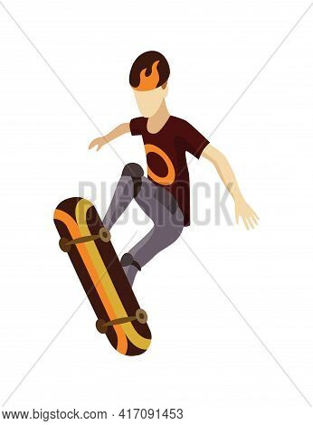 Visitor Of Isometric Skatepark. Young Man Jumping On Skateboard. Modern Youth Leisure. Recreation Pl