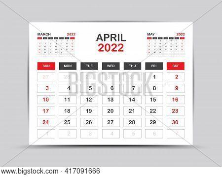 Calendar 2022 Template Minimal Style, April Month Artwork, Desk Calendar 2022 Year, Wall Calendar. W