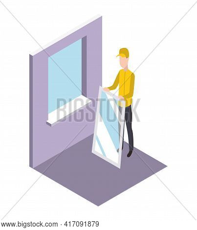 Isometric Worker. Home Repair Isometric Form With Craftsman Who Sets The Window. Professional People