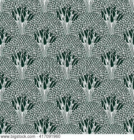 Vector Seamless Pattern With Deciduous Trees. Black And White Repeating Background With Forest Plant