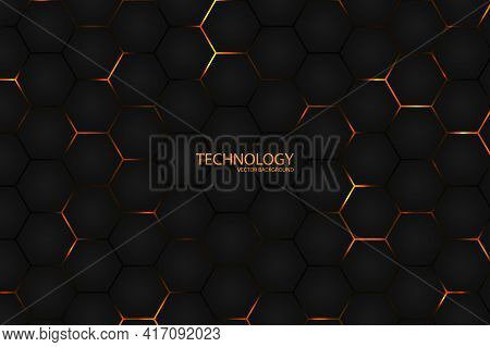 Hexagonal Dark L Abstract Background. Bright Yellow Light Energy Flashing Under The Hexagon In Moder