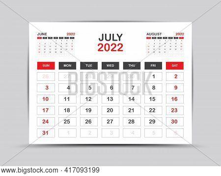 Calendar 2022 Template Minimal Style, July Month Artwork, Desk Calendar 2022 Year, Wall Calendar. We
