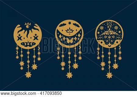 Set Of Gold Butterflies On Black. Collection Of Illustrations With Fluttering Insects Doodle Wings.