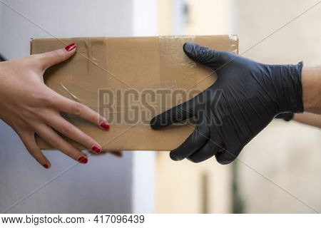 Woman Receive At Home Shipment Package From Delivery Men, Ecommerce Shopping Purchase