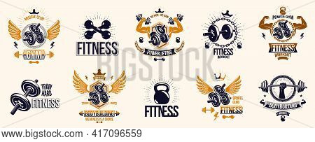 Fitness Sport Emblems Logos Or Posters With Barbells Dumbbells Kettlebells And Muscle Man Silhouette