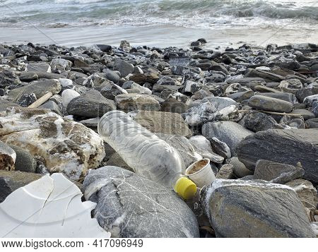 Marine Sea Ecosystem Contaminated With Plastic Debris Pollution, Environmental Wate Contamination