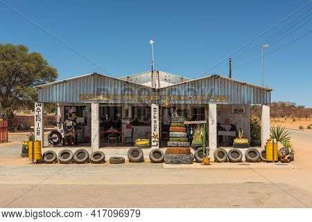 Kamanjab, Namibia, December 10, 2020: Grocery Store And Bar In The Town Of Kamanjab, Namibia