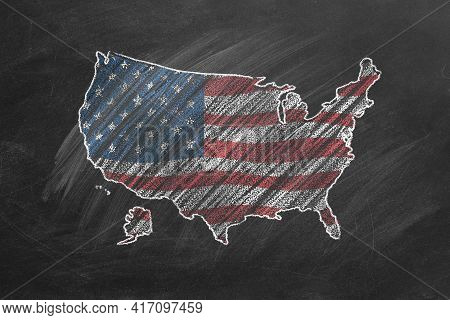 Country Map And Flag Of The Usa Drawing With Chalk On A Blackboard.  One Of A Large Series Of Maps A