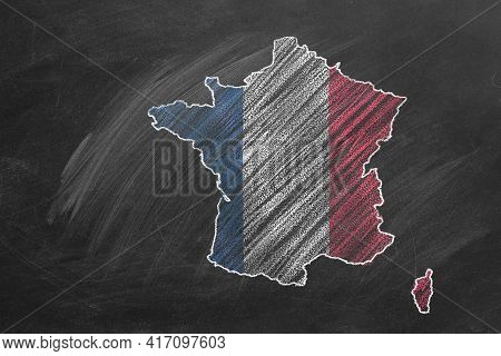 Country Map And Flag Of France Drawing With Chalk On A Blackboard. One Of A Large Series Of Maps And