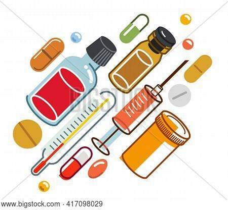 Pharmacy Drugs Apothecary Bottles And Pills And Ampules, Big Composition Set Of Medicaments Vector F