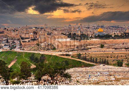 Jerusalem, Israel old city skyline at dusk from Mount of Olives.