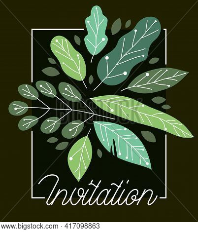 Greeting Card With Fresh Green Leaves Vector Flat Drawing, Floral Design Composition Mockup Layout O