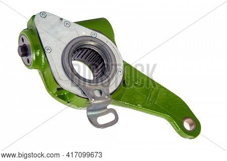 Slack adjuster.Brake slack adjuster on the gray background. Truck parts. Car parts. Parts on the gray background. Ratchet