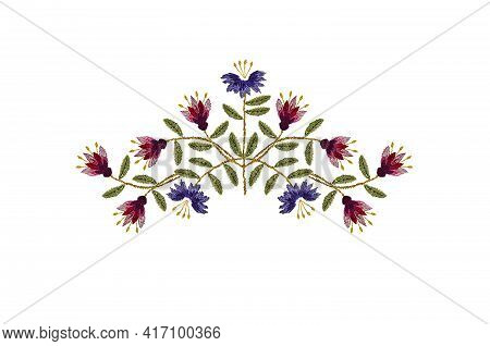 Pattern For Embroidery Of A Delicate Bouquet Of Pink-maroon Carnations And Purple Carnations With Gr