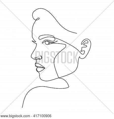 Trendy Fashion Contour Drawing Lineart Portrait Of A Beautiful Girl . Abstract Face, Minimalism And
