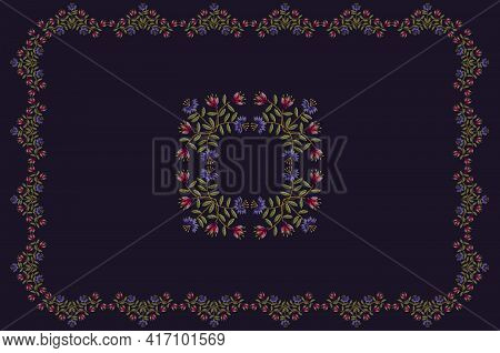 Pattern For Embroidery Of Navy Blue Tablecloth With Border Of Pink Red And Purple Carnations With Le