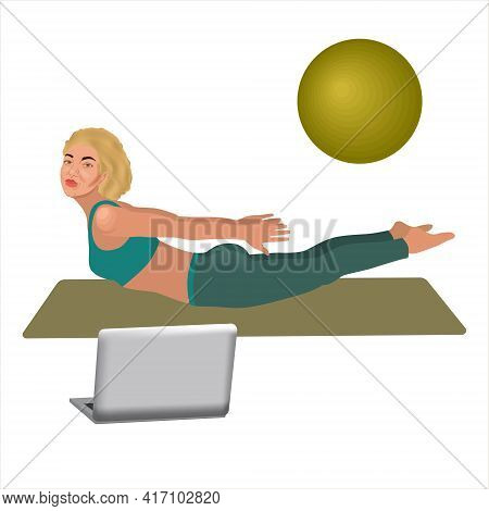 Beautiful Sporty Blonde Woman Practicing Sarpasana Pose - In Front Of Her Laptop, Wearing Sport Blue