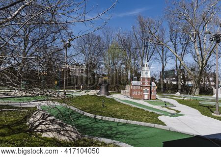 Philadelphia, Pa - March 26 2021: Mini Golf Course With Liberty Bell In Franklin Square, Center City