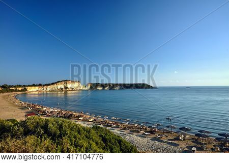 Rocky Cliff At Gerakas Beach On Zakynthos Island In Greece
