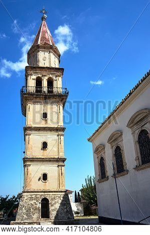 The Stone Bell Tower Of The Orthodox Church On The Island Of Zakynthos In Greece