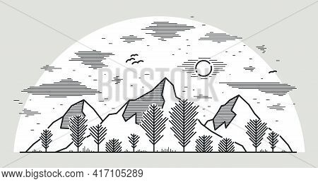 Mountain Peaks And Trees Forest Line Art Vector Illustration Isolated On White, Linear Illustration