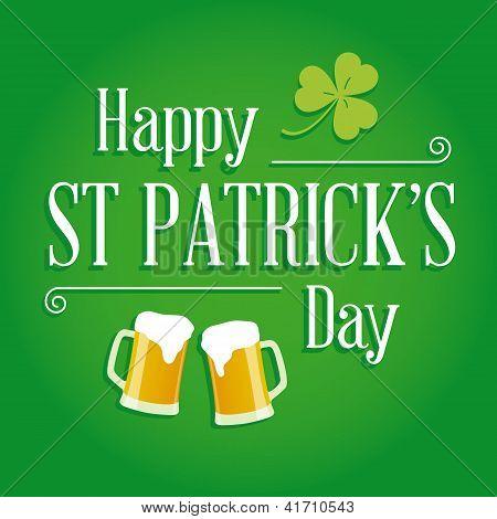 Happy St Patricks day card vector design elements
