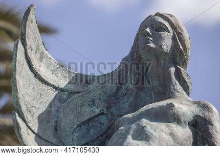 Villanueva De La Serena, Spain - April 4th, 2021: Mermaid Sculpture Of Villanueva De La Serena, Bada