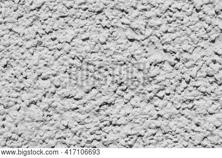 Grey Structural Facade Plaster. Lamb Style Plaster With Grainy Structure