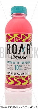 Winneconne, Wi - 15 April 2021:  A Bottle Of Roar Organic Electrolyte Infusions Drink On An Isolated