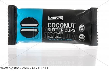 Winneconne, Wi - 15 April 2021:  A Package Of Evolved Coconut Butter Cups On An Isolated Background
