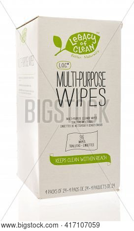 Winneconne, Wi - 15 April 2021:  A Package Of Legacy Of Clean Multi Purpose Wipes Disinfectant On An