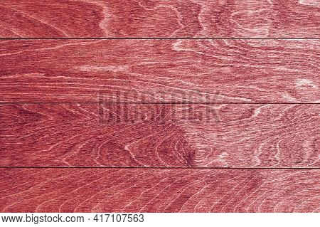 Scarlet Wooden Planks As Natural Texture Background. Hardwood Texture. Empty Backdrops And Templates