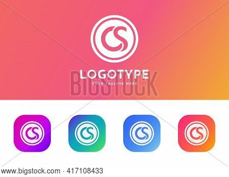 Letter Cs, Sc, Os, C And S Logo Set With Gradient Design, The Concept Of Modern Technology. Applicat
