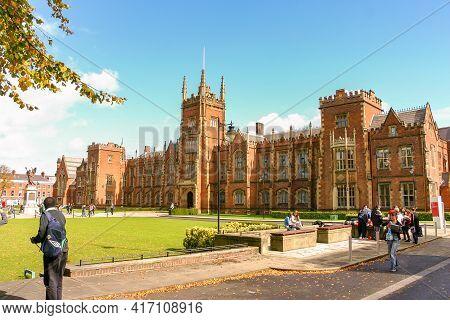 Belfast, Northern Ireland / United Kingdom - Sept. 20, 2011: A Closeup Landscape Image Of Queen\'s U
