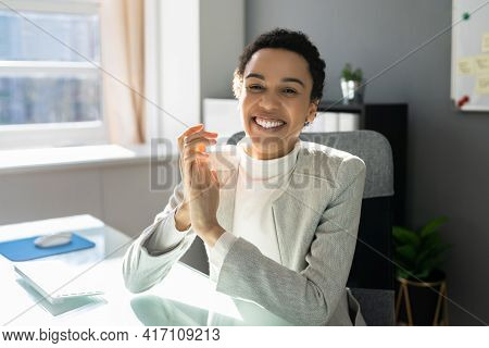 Happy Woman Applauding And Clapping In Virtual Video Call