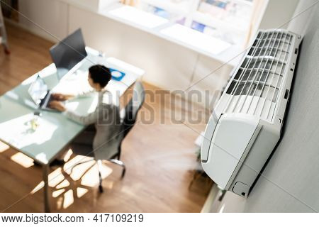 Air Conditioner In Office. Heating And Conditioning