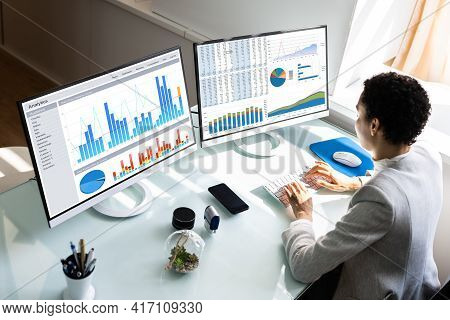 Financial Business Analytics Data Dashboard. Analyst Woman