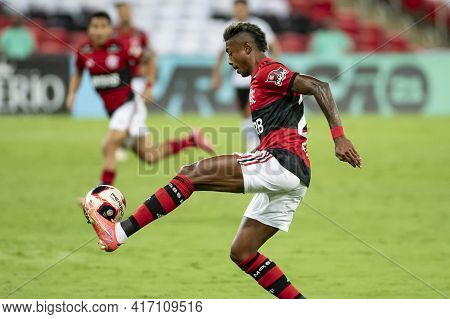 Rio, Brazil - April 15, 2021: Bruno Henrique Player In Match Between Flamengo V Vasco By Carioca Cha