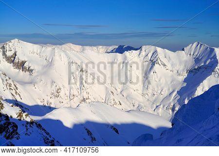 Winter landscape in the Transylvanian Alps - Fagaras Mountains, Romania, Europe