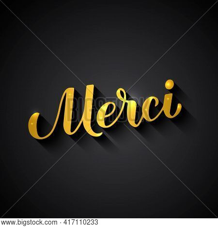 Thank You In French Language. Gold Lettering On Black Background. Vector Template For Wedding Thank