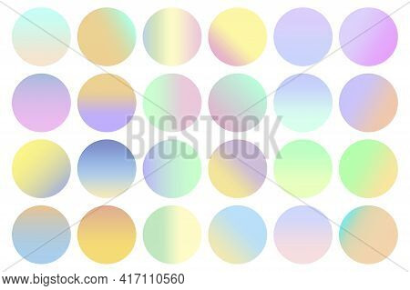 Modern Hipster Set With Round Spheres Pastel Colors. Elegant Color Mesh. Neon Gradient. Stock Image.
