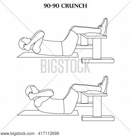 90-90 Crunch Exercise Strength Workout Vector Illustration Outline