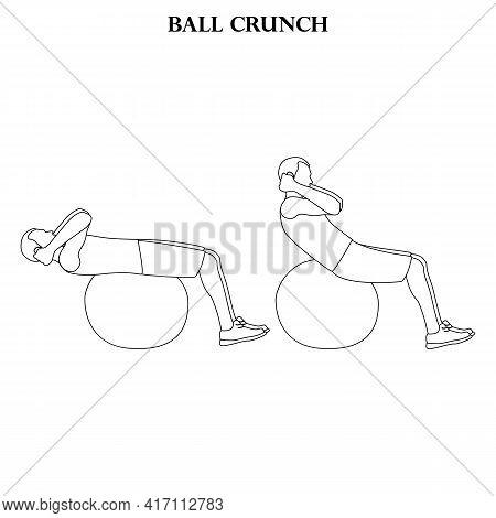 Ball Crunch Exercise Strength Workout Vector Illustration Outline