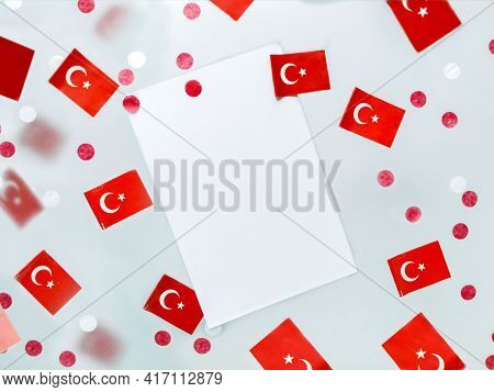 Turkey Day National Sovereignty And Children Of The Whole World. National Flags On A Foggy Backgroun