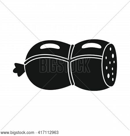 Vector Raw Smoked Sausage Black Simple Icon